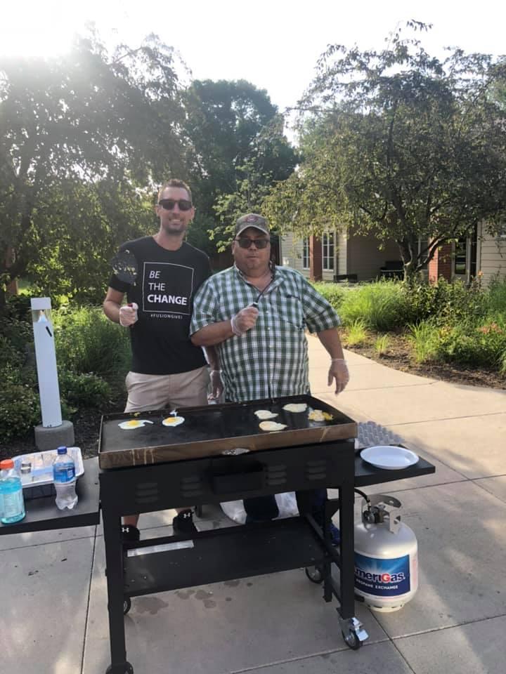 QLI July Bfast 2019 Brad Higgins and Resident-min