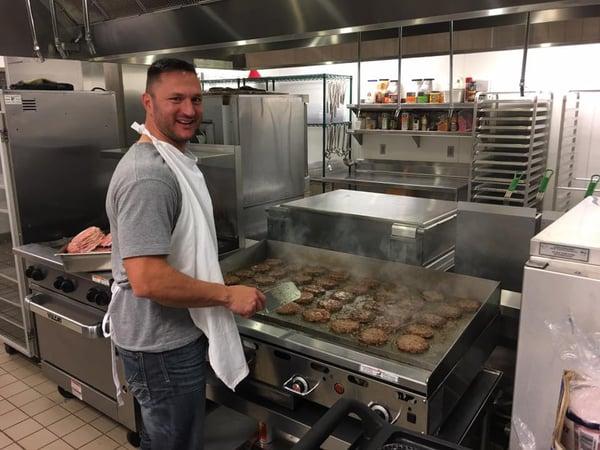 Sam grilling at Stephen Center